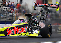 Feb 10, 2017; Pomona, CA, USA; NHRA top fuel driver Troy Coughlin Jr during qualifying for the Winternationals at Auto Club Raceway at Pomona. Mandatory Credit: Mark J. Rebilas-USA TODAY Sports