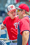8 June 2013: Washington Nationals batting coach Rick Eckstein chats with Minnesota Twins outfielder and former National Josh Willingham prior to a game against the Minnesota Twins at Nationals Park in Washington, DC. The Twins edged out the Nationals 4-3 in 11 innings. Mandatory Credit: Ed Wolfstein Photo *** RAW (NEF) Image File Available ***