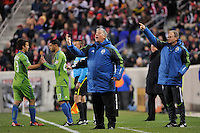 Seattle Sounders head coach Sigi Schmid. The New York Red Bulls defeated the Seattle Sounders 1-0 during a Major League Soccer (MLS) match at Red Bull Arena in Harrison, NJ, on March 19, 2011.