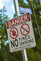 Danger, No Fires, Smoking, Sign, Architectural, Signage, Way finding Systems, stamped out of metal, lettering embossed