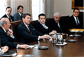 United States President Ronald Reagan meets with members of the Geneva Delegation in the Cabinet Room in the White House in Washington, D.C. on Wednesday, January 16, 1985.From left are: U.S. Secretary of State George Shultz; President Reagan; U.S. Secretary of Defense Caspar Weinberger; Ambassador Paul Nitze; and Ambassador Edward Rowny..Mandatory Credit: Bill Fitz-Patrick - White House via CNP