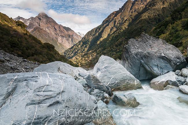 Upper, bouldery Butler River near Ice Lake, Westland National Park, West Coast, New Zealand
