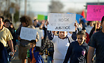 People walk in a February 14 2015 march in Pasco, Washington, that demanded justice for the killing of Antonio Zambrano Montes by three Pasco police officers on February 10.