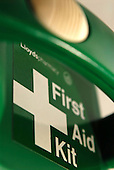 First aid kit in a green box. Royalty Free