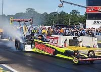Aug 21, 2016; Brainerd, MN, USA; NHRA top fuel driver J.R. Todd during the Lucas Oil Nationals at Brainerd International Raceway. Mandatory Credit: Mark J. Rebilas-USA TODAY Sports
