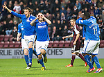 Hearts v St Johnstone....02.11.13     SPFL<br /> Stevie May celebrates his goal with Murray Davidson<br /> Picture by Graeme Hart.<br /> Copyright Perthshire Picture Agency<br /> Tel: 01738 623350  Mobile: 07990 594431