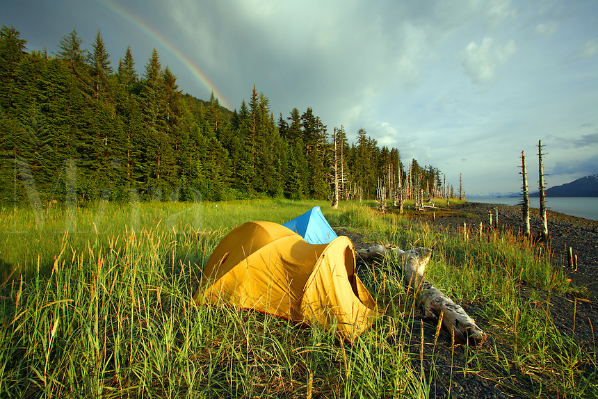Camping on the beach, Barry Arm, Prince William Sound, Chugach National Forest, Alaska.