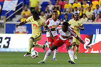Harrison, NJ - Wednesday July 06, 2016: Carlos Quintero, Gideon Baah during a friendly match between the New York Red Bulls and Club America at Red Bull Arena.