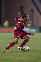 Real Salt Lake midfielder Arturo Alvarez (10). In a Major League Soccer (MLS) match, Real Salt Lake defeated the New England Revolution, 2-0, at Gillette Stadium on April 9, 2011.