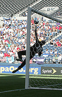 Jean Dominique Zephrin jumps for the save. Honduras defeated Haiti 1-0 during the First Round of the 2009 CONCACAF Gold Cup at Qwest Field in Seattle, Washington on July 4, 2009.