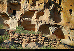 Long House Ruins, Anasazi Ancestral Puebloan Cliff Dwellings, Bandelier National Monument, Frijoles Canyon, Pajarito Plateau, Los Alamos, New Mexico