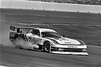 CONCORD, NC - MAY 20: The Team Zakspeed USA Ford Mustang GTP driven by Bob Wollek retires with engine problems during the Charlotte 500 IMSA GT race at the Charlotte Motor Speedway in Concord, North Carolina, on May 20, 1984.