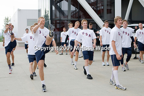 Team White and Team Blue warm up outside the rinks prior to their third scrimmage of the 2009 USA Hockey National Junior Evaluation Camp on Sunday, August 9, 2009, in Lake Placid, New York.