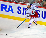 4 December 2008: New York Rangers' defenseman Michal Rozsival from the Czech Republic in action against the Montreal Canadiens at the Bell Centre in Montreal, Quebec, Canada. The Canadiens, celebrating their 100th season, played in the circa 1915-1916 uniforms for the evenings' Original Six matchup. The Canadiens defeated the Rangers 6-2. *****Editorial Use Only*****..Mandatory Photo Credit: Ed Wolfstein Photo