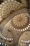 Domed ceiling of the Blue Mosque, Istanbul, Turkey