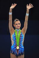 September 8, 2009; Mie, Japan;  Evgeniya Kanaeva of Russia wins gold in Event Finals at 2009 World Championships Mie. Evgeniya became world champion 3-days later at Mie and was the 2008 gold individual medalist in rhythmic gymnastics at the Beijing Olympics. Photo by Tom Theobald. .