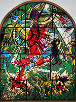 The Tribe of Gad. The Twelve Tribes of Israel depicted in stained glass By Marc Shagall (1887 - 1985). The Twelve Tribes are Reuben, Simeon, Levi, Judah, Issachar, Zebulun, Dan, Gad, Naphtali, Asher, Joseph, and Benjamin.