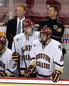 Greg Brown (BC - Assistant Coach), Philip Samuelsson (BC - 5), Bert Lenz (BC - Trainer), Edwin Shea (BC - 8) - The Boston College Eagles defeated the St. Francis Xavier University X-Men 4-1 in their exhibition match on Sunday, October 4, 2009, at Conte Forum in Chestnut Hill, Massachusetts.
