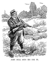 John Bull Gets His Eye In. (John Bull out shooting zeppelins in the countryside during WW1)