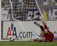 New England Revolution goalkeeper Matt Reis (1) with critical save in penalty kicks after game ended tied at 1-1. The New England Revolution defeated Puebla FC in penalty kicks, in SuperLiga 2010 semifinal at Gillette Stadium on August 4, 2010.