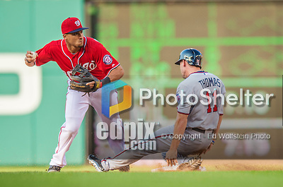 8 June 2013: Washington Nationals shortstop Ian Desmond in action against the Minnesota Twins at Nationals Park in Washington, DC. The Twins edged out the Nationals 4-3 in 11 innings. Mandatory Credit: Ed Wolfstein Photo *** RAW (NEF) Image File Available ***