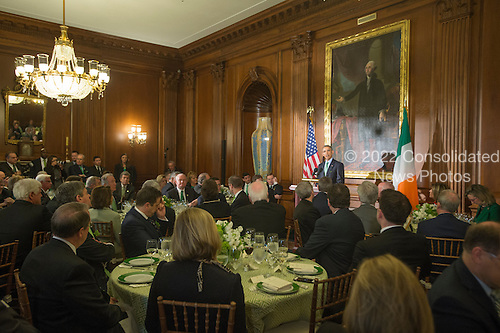 US President Barack Obama (C) delivers remarks at the Friends of Ireland luncheon on Capitol Hill, in Washington, DC, USA, 15 March 2016. President Obama attended the Friends of Ireland Luncheon on Capitol Hill ahead of St. Patrick's Day, which takes place 17 March.<br /> Credit: Michael Reynolds / Pool via CNP