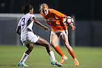 15 October 2016: Virginia's Tina Iordanou (7) and Duke's Imani Dorsey (3). The Duke University Blue Devils hosted the University of Virginia Cavaliers at Koskinen Stadium in Durham, North Carolina in a 2016 NCAA Division I Women's Soccer match. Duke won the game 1-0.