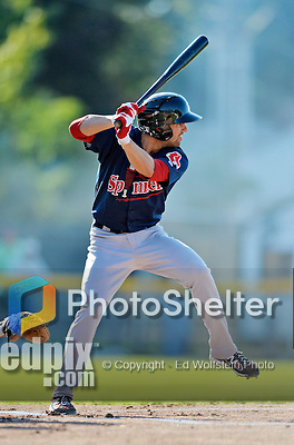 30 June 2012: Lowell Spinners infielder Deven Marrero in action against the Vermont Lake Monsters at Centennial Field in Burlington, Vermont. Mandatory Credit: Ed Wolfstein Photo