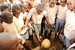 Children playing soccer in Likoni, Kenya.