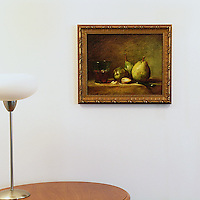 "Chardin: ""Pears and A Cup of Wine"", Digital Print, Image Dims. 13"" x 16"", Framed Dims. 16.25"" x 19.25"""