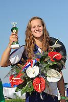 FIERLJEPPEN: VLIST: 22-08-2015, NK Fierljeppen/Polstokverspringen, winnares Klaske Nauta (dames) 16.31m, ©foto Martin de Jong