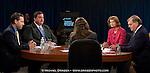 From left, Republican candidate Joe Miller, Democrat Scott McAdams, incumbent Senator Lisa  Murkowski and moderator Dave Donaldson appear during a debate Wednesday, Oct. 27, 2010 in Anchorage, Alaska.  (AP Photo / Michael Dinneen)