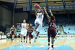 12 December 2012: North Carolina's Tierra Ruffin-Pratt (44) shoots over NC Central's Tenika Neely (13). The University of North Carolina Tar Heels played the North Carolina Central University Eagles at Carmichael Arena in Chapel Hill, North Carolina in an NCAA Division I Women's Basketball game. UNC won the game 49-21.
