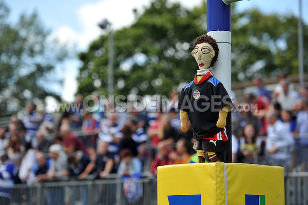 A general view of the traditional rag doll, played for in matches between Bath and the Scarlets, hung up to the posts. Pre-season friendly match, between Bath Rugby and the Scarlets on August 16, 2014 at the Recreation Ground in Bath, England. Photo by: Patrick Khachfe / Onside Images