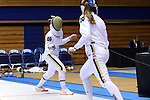 DURHAM, NC - FEBRUARY 25: Notre Dame's Amanda Sirico (left) and teammate Molly Hudson (right) during their Women's Epee semifinal match. The Atlantic Coast Conference Fencing Championships were held on February, 25, 2017, at Cameron Indoor Stadium in Durham, NC.