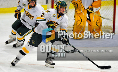 10 January 2009: University of Vermont Catamount defenseman Drew MacKenzie, a Freshman from New Canaan, CT, in action against the Boston College Eagles during the second game of a weekend series at Gutterson Fieldhouse in Burlington, Vermont. The Catamounts rallied from an early 2-0 deficit to defeat the visiting Eagles 4-2. Mandatory Photo Credit: Ed Wolfstein Photo