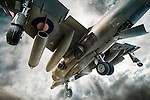 Harrier Jump jet in vertical take-off seen from beneath