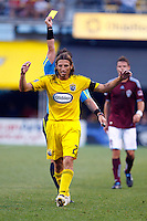 21 AUGUST 2010:  Referee Edvin Jurisevic gives Frankie Hejduk of the Columbus Crew(2) a yellow card during MLS soccer game between Colorado Rapids vs Columbus Crew at Crew Stadium in Columbus, Ohio on August 21, 2010.