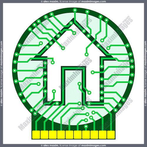 Connected home logo conceptual illustration. Circuit board with house symbol isolated on white background. Vector illustration is available on request.