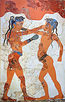 "Minoan Fresco wall painting of "" Boxing Youths""  from Minoan Bronze Age settlement  of Akrotiri on the Greek island of Thira, Santorini, Greece. . Athens Archaeological Museum."