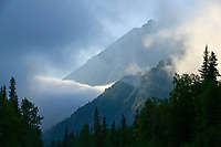 Clouds over the Kenai mountains along the New Seward Highway, Kenai Peninsula, Alaska