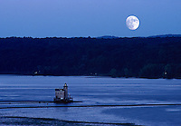 Kingston Lighthouse; Landscape; Travel Kingston; beacon; hudson river; lighthouse; moon; new york; twilight