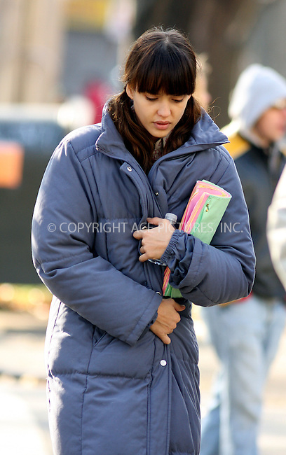 WWW.ACEPIXS.COM . . . . .  ....November 23 2008, New York City....Actress Jessica Alba was on the set of the new movie 'An invisible sign of my own' in Brooklyn on November 23 2008 in New York City....Please byline: AJ Sokalner - ACEPIXS.COM..... *** ***..Ace Pictures, Inc:  ..te: (646) 769 0430..e-mail: info@acepixs.com..web: http://www.acepixs.com