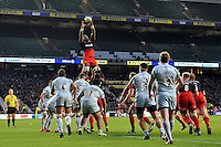 Maro Itoje of Saracens rises high to win lineout ball. Aviva Premiership match, between Saracens and Worcester Warriors on November 28, 2015 at Twickenham Stadium in London, England. Photo by: Patrick Khachfe / JMP