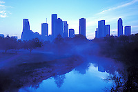 Stock photo of a view of the downtown skyline from Buffalo Bayou