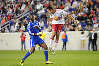 Mike Petke (12) of the New York Red Bulls heads the ball. The New York Red Bulls defeated the Kansas City Wizards 1-0 during a Major League Soccer (MLS) match at Red Bull Arena in Harrison, NJ, on October 02, 2010.