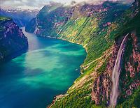 Waterfall above Geiranger Fjord, Western Fjords, Norway UNESCO World Heritage Site, 5oo foot wtaerfall Atlantic Ocean