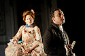 """London, UK. 19/05/2011.  """"School for Scandal"""" opens at the Barbican. Katherine Parkinson as Lady Teazle and Aidan McArdle as Joseph Surface. Photo credit should read Jane Hobson"""
