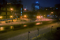 Normally busy Ninth Avenue in the Chelsea neighborhood of New York is devoid of traffic and pedestrians on Monday, January 26, 2015. New York Mayor de Blasio has decreed that all but emergency traffic be suspended after 11PM and he encouraged people not to be out.  (© Richard B. Levine)