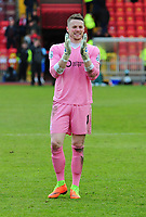 Lincoln City's Paul Farman applauds the fans at the end of the game<br /> <br /> Photographer Andrew Vaughan/CameraSport<br /> <br /> Vanarama National League - Gateshead v Lincoln City - Monday 17th April 2017 - Gateshead International Stadium - Gateshead <br /> <br /> World Copyright &copy; 2017 CameraSport. All rights reserved. 43 Linden Ave. Countesthorpe. Leicester. England. LE8 5PG - Tel: +44 (0) 116 277 4147 - admin@camerasport.com - www.camerasport.com